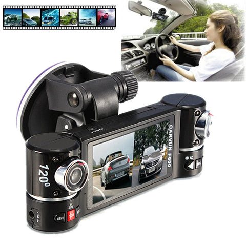 Visiocology : New Dual Lens Car Camera Vehicle DVR Dash Cam Two Lens Video Recorder F600 Black