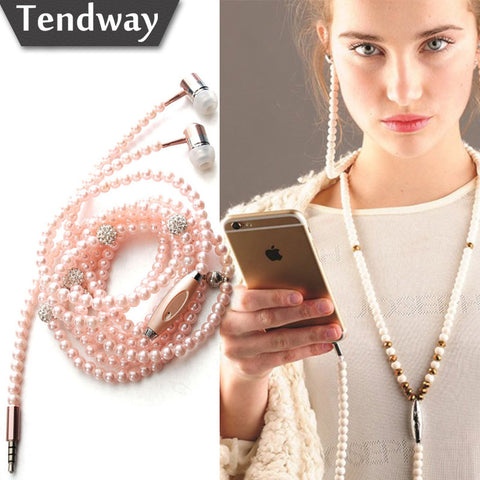 Pink girl Rhinestone Jewelry Pearl Necklace Earphones With Mic 3.5mm Earbuds For Xiaomi Huawei Brithday Gift  fone de ouvido