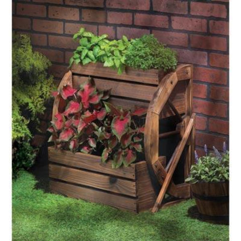 Visiocology : Summerfield Terrace ~ Rustic finish Country Portable Outdoor Wagon Wheel Double level Garden Plant Planter