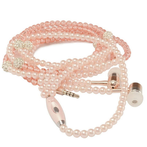 Visiocology : Wired 3.5mm Jewelry Pearl Necklace Earphones Handsfree Headphone Headset Beads Pink for IOS/Android Cell Phone Accessories