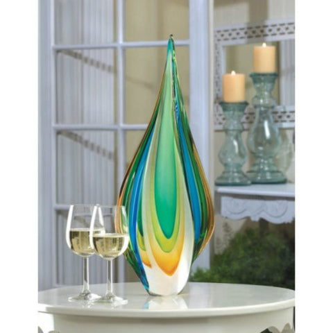 Accent Plus Twisted Tear Drop Contemporary Art Glass Decor Accessory - Visiocology
