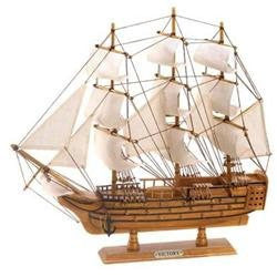Accent Plus 10001296 Antique Hms Victory Model Ship Collectors Wood and Cotton Statue Decor-Visiocology