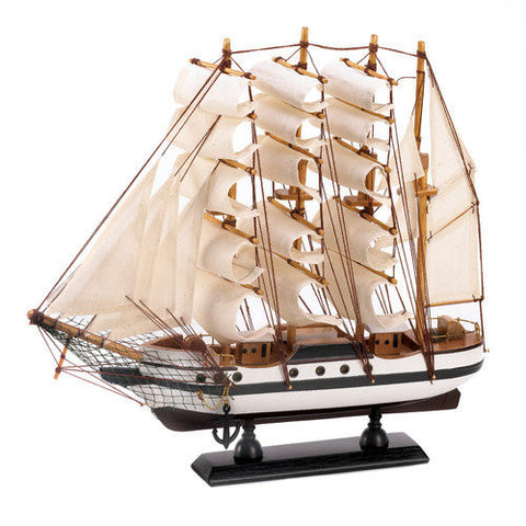 Accent Plus 10014751 Wood Cotton Passat Sailing Ship Model Collectible Mantle or Table Home Decor - Visiocology