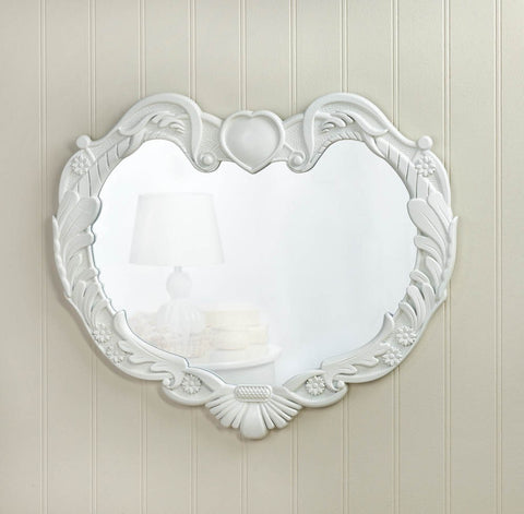 Visiocology.com : Accent Plus White Angel Heart Glass Wall Mirror Modern Decorative Wooden Wall Decor