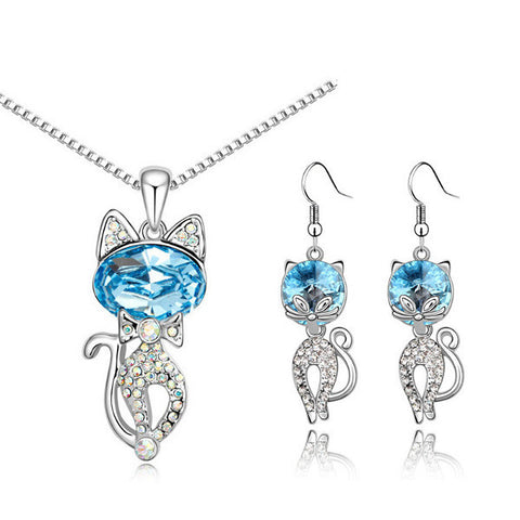 Austria Crystal Naughty Cat Platinum Rhinestone Necklace Earrings Jewelry Set-Visiocology