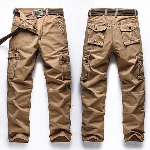 Big Size 30-48 Multi Pocket Cargo Pants Fashion Mens Outdoor Army Casual Cotton Trousers-Visiocology