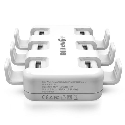 Visiocology : BlitzWolf® BW-S4 Smart 6-Port High Speed Desktop USB Charger For iPhone iPad Samsung 50W