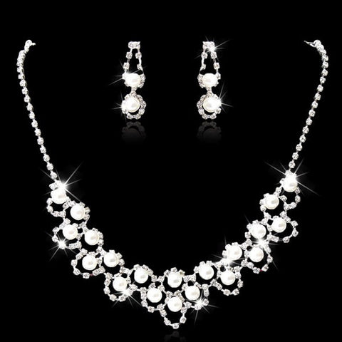 Bridal Crystal Pearl Necklace Earrings Wedding Jewelry Set Silver Plated-Visiocology