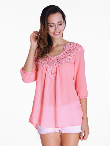 Casual Chiffon Lace Patchwork Long Sleeve Loose Women T shirt Blouse Tee Top-Visiocology