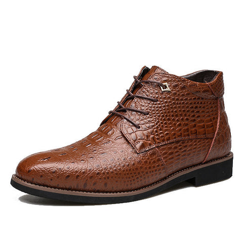 Casual Lace Up Crocodile Pattern Pointed Toe Leather Short Boots For Men in Black or Brown-Visiocology