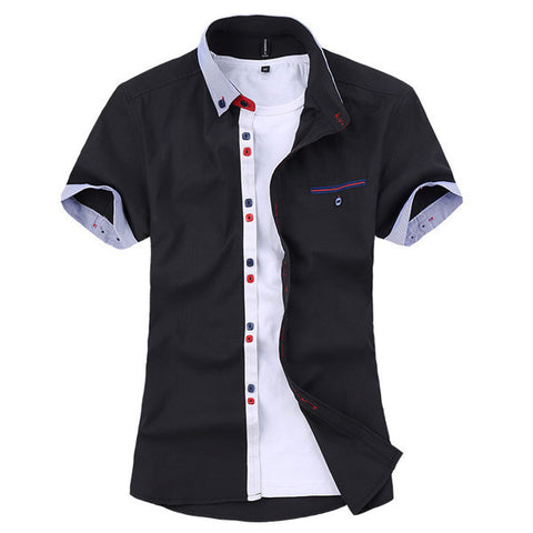 ChArmkpR Mens Stripe Cotton Summer Casual Fashion Spell Color Short Sleeve Dress Shirt-Visiocology