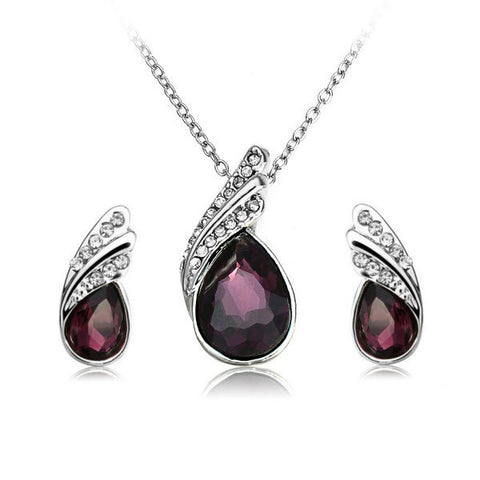 Crystal Water Drop Necklace Earrings Jewelry Set Silver Plated Jewelry-Visiocology