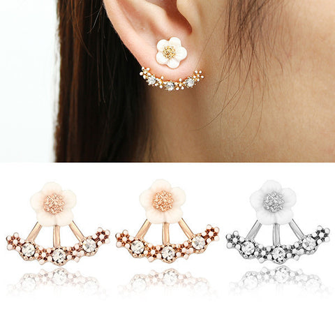 Cute Crystal Daisy Flower 925 Silver Needle Ear Stud Earrings For Women-Visiocology