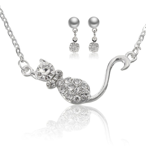 Cute Small Cat Crystal Necklace Earrings Jewelry Set For Women - Visiocology