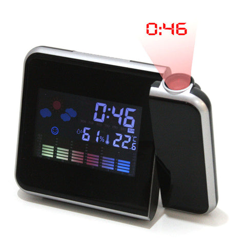 visiocology digital lcd time projector snooze alarm clock temperature weather humidity led