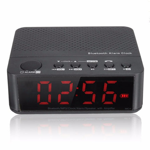Visiocology : Digital LED Display Alarm Clock With Bluetooth Speaker Amplifier FM Radio Mp3 Player