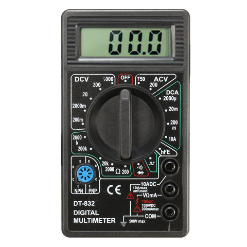 DT832 Digital LCD Multimeter Ohm Voltage Ampere Meter Buzzer Function with Test Probe-Visiocology