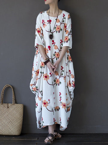 Embroidered Vintage Ladies Floral Half Sleeve Irregular Robe Dress For Women