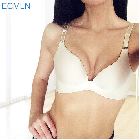 ECMLN Adjustable Sexy Women Bra Brassiere Seamless Lingerie Super Push Up Bra 6 Color Plus Size C Cup Strappy Bras For Women-Visiocology
