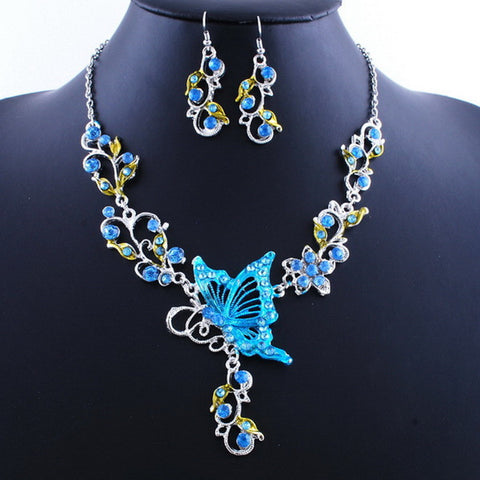 Ethnic Bridal Crystal Butterfly Flower Earring Necklace Jewelry Set For Women - Visiocology