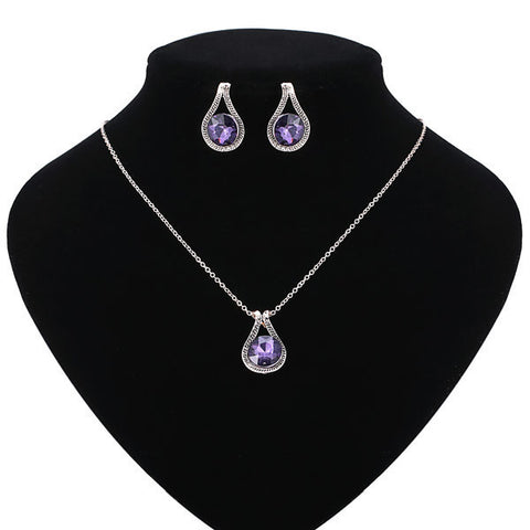 Fashion Trendy Rose Gold Carved Amethyst Necklace Earrings Jewelry Set For Women - Visiocology