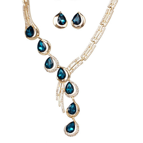 Fashion Alloy Water Drop Rhinestone Necklace Earrings Engagement Jewelry Set - Visiocology