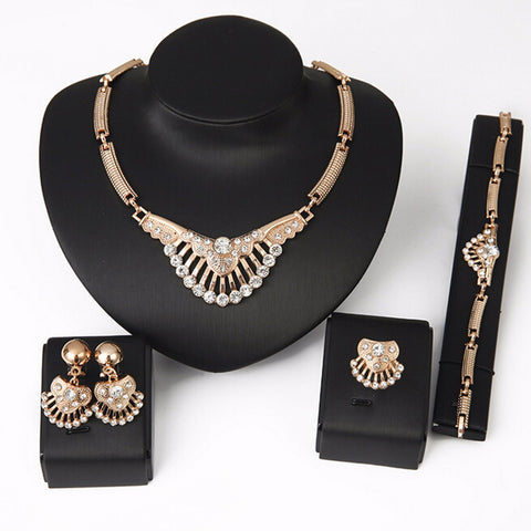 Fashion Crystal Rhinestone Necklace Earrings Bracelet Ring Jewelry Set - Visiocology