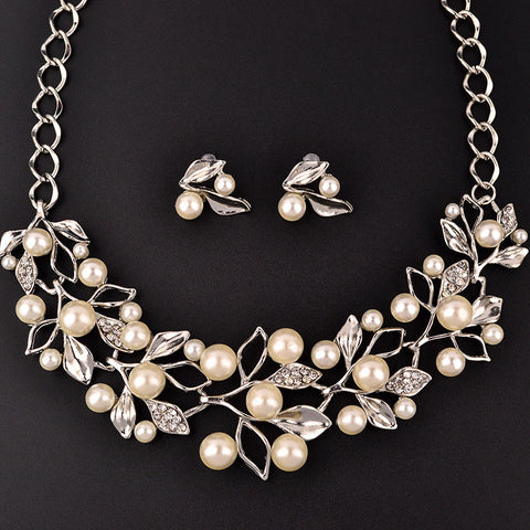Fashion Leaves Artificial Pearls Zircon Crystal Necklace Earrings Jewelry Set - Visiocology