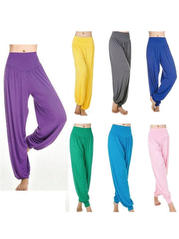 Female Multicolor Summer Dancing Workout Loose Long Trousers Yoga Pants-Visiocology