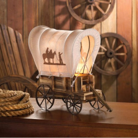 Gallery of Light ~ Unique Cowboys and Horses Western Wagon Wood iron Table Lamp - Visiocology