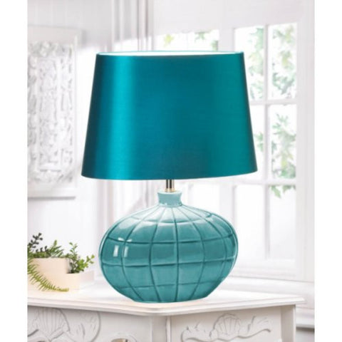 Gallery of Light Modern Ceramic and fabric Turquoise Table Lamp - Visiocology