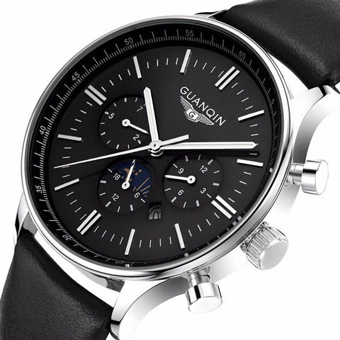GUANQIN 12003 Men Quartz 100M Waterproof 24 Hours Moon Phase Date Week Month Dial Luminous Casual Watch-Visiocology