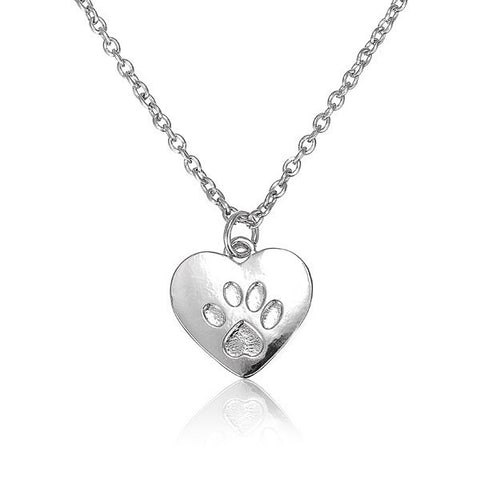Heart Dog Cat Paw Prints Animal Footprints Pendant Sweet Necklace-Visiocology