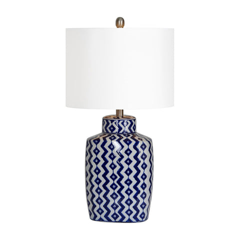Ren-Wil Beryl Table Lamp Blue Plus white shevron pattern Plus satin nickel Small - Visiocology