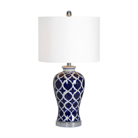 Ren-Wil Indigo Table Lamp Blue Plus white Moroccan pattern Plus chrome Small - Visiocology
