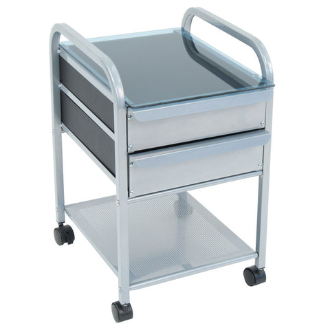 Studio Designs Futura / Vision 2 Drawer Organizer - Silver/ Blue Glass - Visiocology