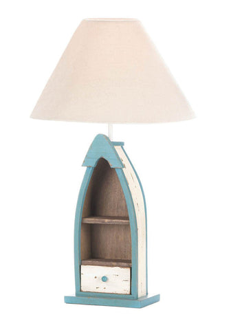 "Visiocology : Home Locomotion Charming Stylish Decorative Wood Fishing Boat Lamp 14""L x 14""W x 22.25""H  With Shelves & Drawer"
