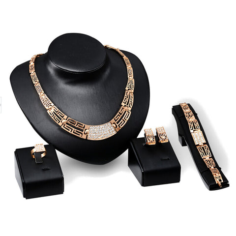 Ladies Fashion Gold Plated Crystal Necklace Earrings Bracelet Ring For Women Stylish Jewelry Set Gift For Girls - Visiocology