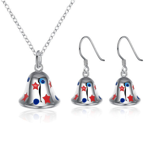 Ladies Sweet Christmas Bell Necklace Enamel Process Earrings Gift Party Women Jewelry Set - Visiocology