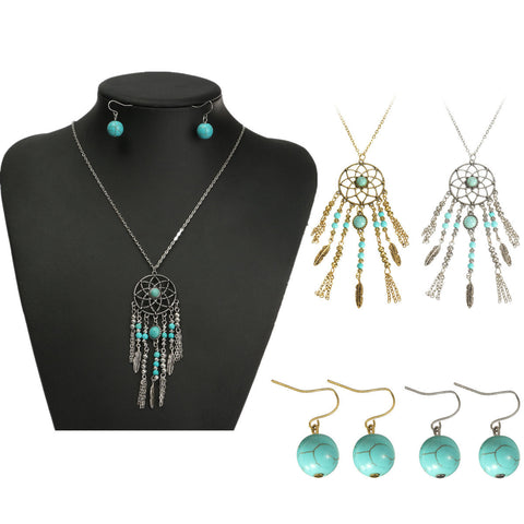 Ladies Vintage Stylish Bohemian Tassel Bead Earrings Pendant Necklace Jewelry Set - Visiocology