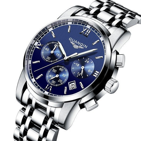 Luxury GUANQIN GS19018 Men Wristwatch Fashion Chronograph Watch Waterproof Full Steel Quartz Watch-Visiocology
