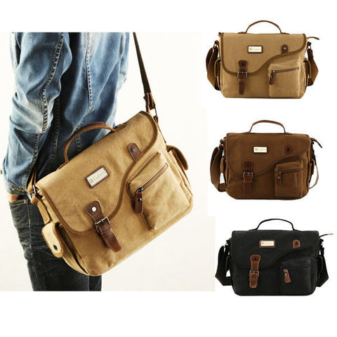 Visiocology : Men Casual Canvas Big Outdoor Shoulder Crossbody Bag Khaki Black Handbag