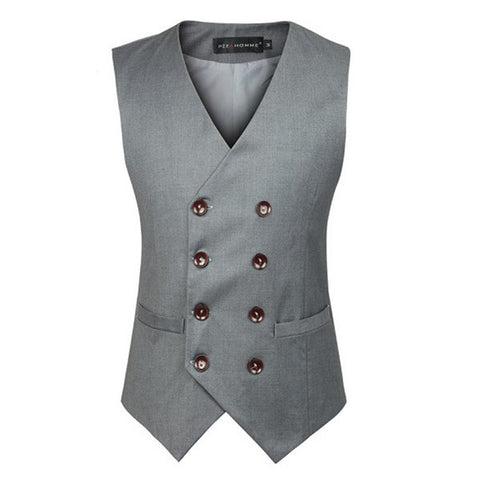 Men Plus Size Business Formal Double Breasted Suit Vest British Style Waistcoats-Visiocology
