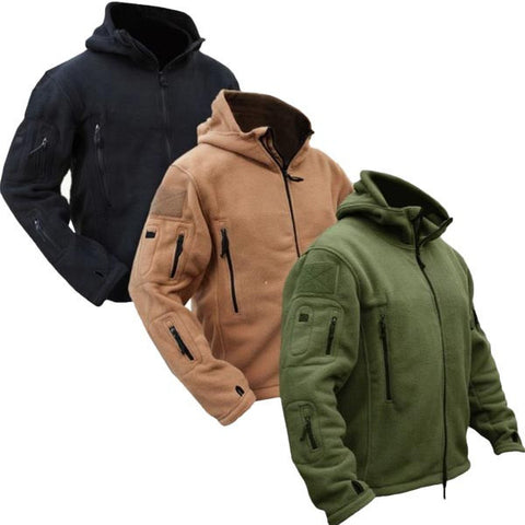 Men Tactical Military Winter Fleece Hooded Outdoor Sports Jacket-Visiocology