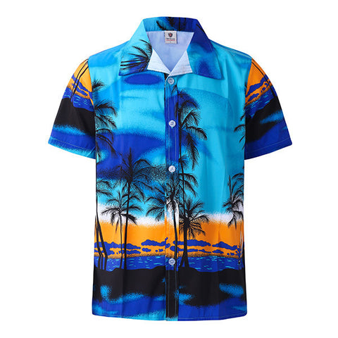 Men Beach Holiday Breathable Quick-drying Coconut Tree Printing Loose Lounge Short-sleeved Shirts-Visiocology