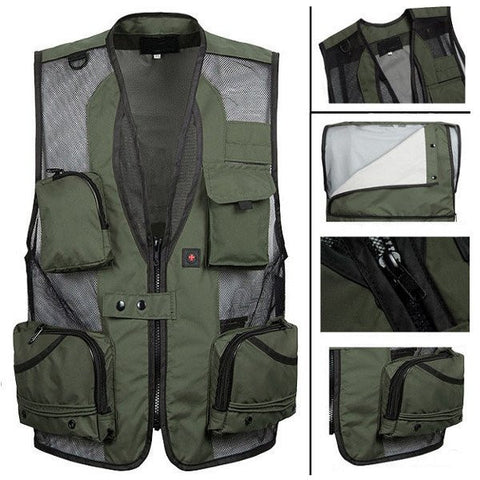 Men's Breathable Outdoor Quick Dry Mesh Multi Pocket Vest Tactical Fishing Sleeveless Vest-Visiocology