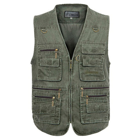 Mens Outdoor Fishing Solid Color Multi-pocket Photojournalist Cotton Vest Waistcoat Big Size M-5XL-Visiocology