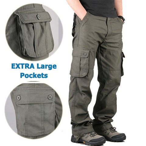 Mens Outdoor Leisure Cargo Pants Extra Large Pockets Straight Leg Trousers-Visiocology
