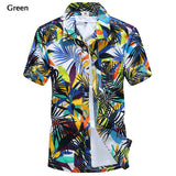Mens Polyester Quick dry Summer Casual Plus Size Printing Turn-down Collar Short Sleeve Beach Shirt - Visiocology