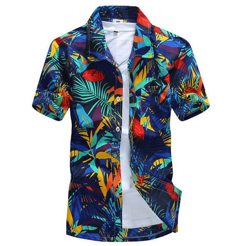 Mens Polyester Quick dry Summer Casual Plus Size Printing Turn-down Collar Short Sleeve Beach Shirt-Visiocology